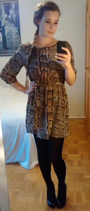 Kleid Schlange Gr. 34 XS H&M tiermuster print reptil blogger