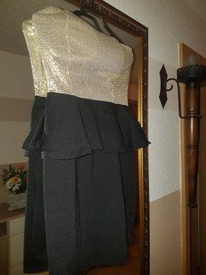 Vestido de lentejuelas negro-color oro