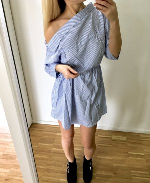 Kleid Schulterfrei Hellblau Gestreift S 36 Blau Hemdkleid