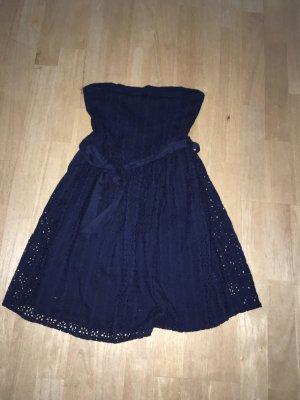 Kleid schulterfrei knielang dunkelblau Gr. 38