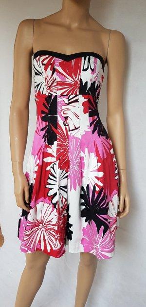 Kleid schulterfrei mit Petticoat und Herz - Abschnitt, großen Blüten, Neuwertig