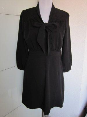 Kleid schwarz 3/4 Arm & Schleife vorne Gr M