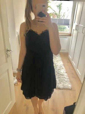 Kleid schwarz Abendkleid schick kurz mit Spaghettiträgern mit Pailetten