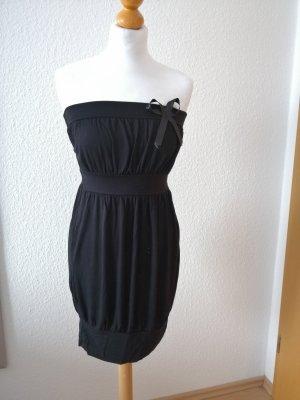 Kleid schwarz Bandeaukleid Schleife