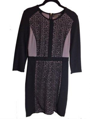Kleid schwarz beige Business Dreiviertel Ärmel