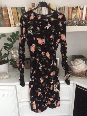 Stretch jurk zwart-roze