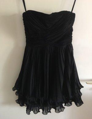 Kleid schwarz Chiffon Anschlussball Silvester XS 34 trägerlos
