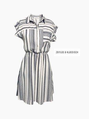 Kleid schwarz & elfenbein streifen Brusttasche Knopf klassisch zeitlos | monteau | M