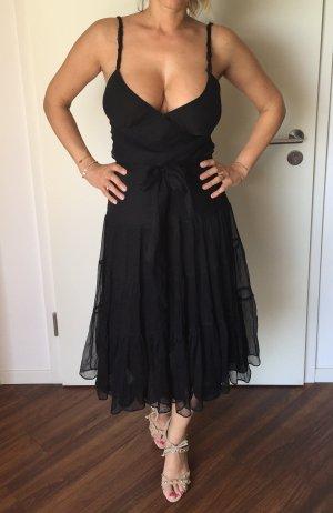 Kleid schwarz gekreppte Seide