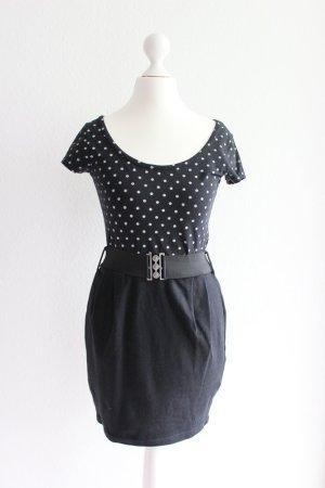 Kleid, schwarz/gepunktet, mit Gürtel