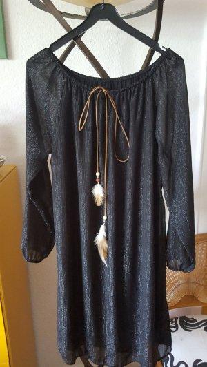 Kleid schwarz Glitzerfäden Lederband Gr.36