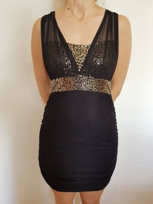 Kleid schwarz gold XS