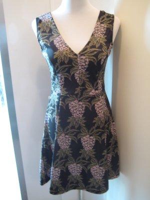 Kleid Schwarz Grün Rosa Gr S Strech V Ausschnitt