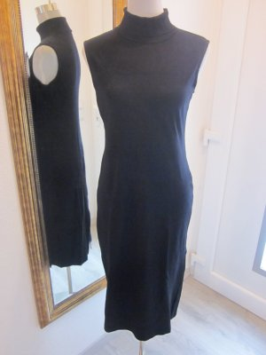 Kleid schwarz mit Rollkragen Ärmellos Gr L