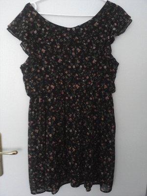 Kleid schwarz mit rot-orange-lindgrünen Blümchenmuster von C&A
