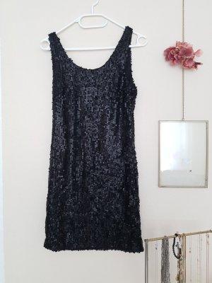 Kleid schwarz Pailetten Party Rückenausschnitt