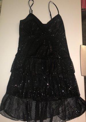 Kleid Schwarz Pailletten Cocktailkleid Sommerkleid Größe 38/40