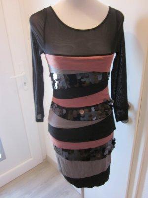 Kleid schwarz pink grau Pailletten Langarm Gr S