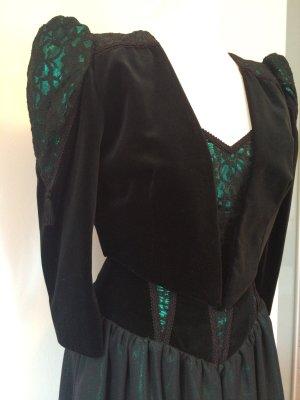 Kleid schwarz samt grün Gr. 38 spitze Abendkleid gothik
