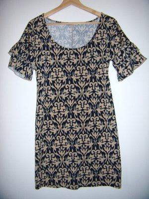 Kleid schwarz sandbraun gemustert