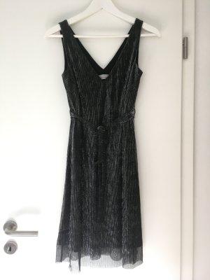 Kleid schwarz-silber mit V-Ausschnitt
