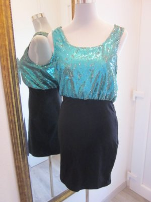 Kleid Schwarz Türkies Glitzer Neu Gr 42 Harpers Dress Bronze #MotelRocks