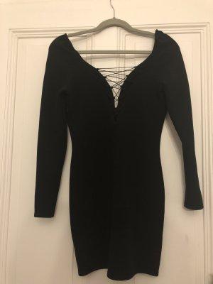 Kleid schwarz v ausschnitt Schnüren