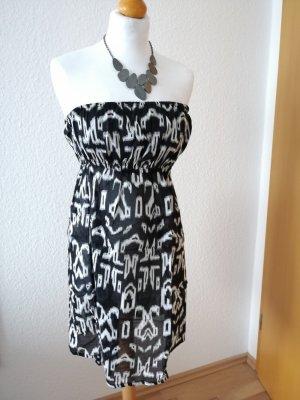 Kleid schwarz weiß Boho Muster Bandeaukleid Blogger Sommerkleid Bohemian
