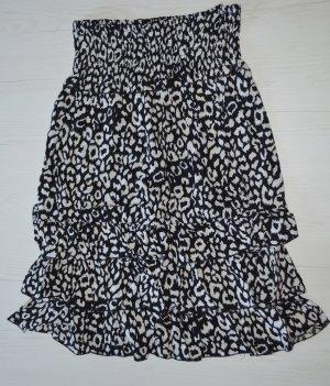 Kleid schwarz weiß Leopardenmuster Trägerlos M/L