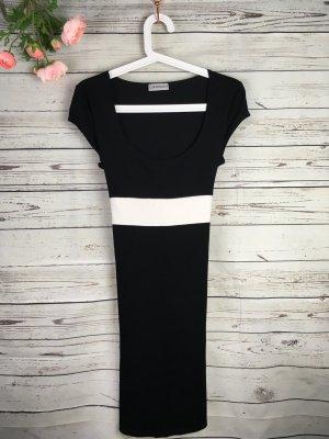 Kleid Schwarz Weiß mit Gürtel  Gr. 36