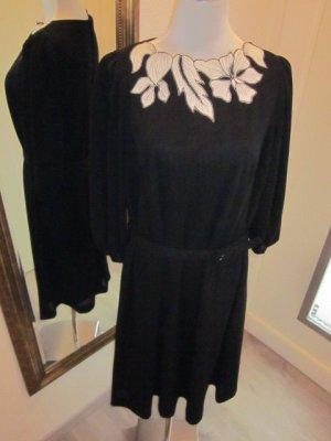 Kleid schwarz weiss mit Gürtel  Gr 40/42 Real Vintage