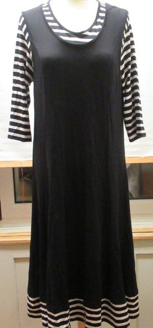 Kleid, schwarz, weiss mit Streifen, 92% Viskose, Elasthan, stretchig, Doris Streich, Gr. 42