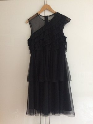 Kleid schwarze Oneshoulder Tüll Größe 40 von COS