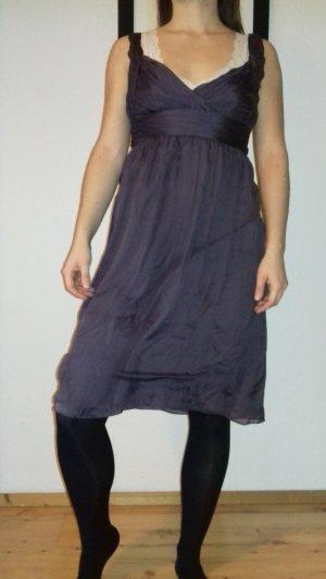 Zara Vestido de noche lila grisáceo Seda