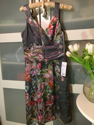Kleid Seidenkleid grau Blumen Selection by s.Oliver