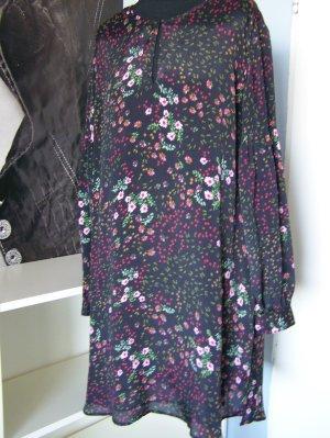 Kleid SET,  Gr. 42, Farbe: Schwarz + Mehrfarbig, NEU, ungetragen, Seide + Viscose