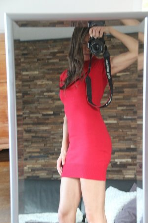 Kleid, sexy, rot, Schalkragenkleid, Strickkleid, Minikleid