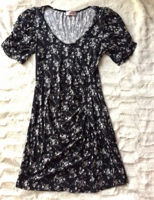 Kleid Shirt Orsay Gr. 36 schwarz geblümt mit Raffung