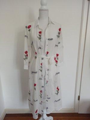Kleid Shirt Transparent Kimono Blogger Stickerei Weiß M L 38