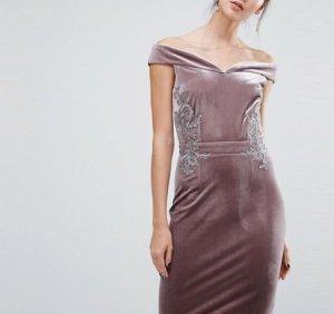 Kleid Shoulder off, edle Stickerrei Gr.34/36 Tall