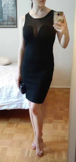 Kleid Snob de Noblesse Gr S 36 schwarz Mesh etui tranparent sexy silvester party