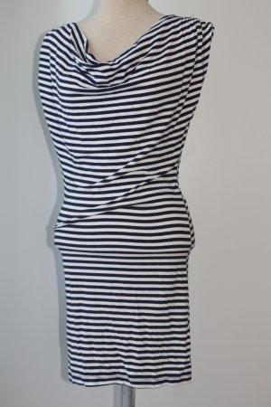 Kleid Sommer blau weiß gestreift Gr. 36 S Sommerkleid Minikleid Wasserfallausschnitt