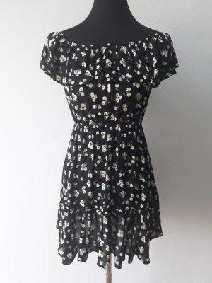 Kleid Sommer Blumen Schwarz Gr. S