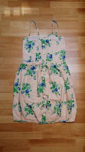 Kleid/ Sommer Kleid/ Ballonkleid/Blumenmuster/ Gr. 36/ S/ in beige-grün-blau