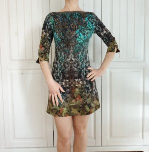 Kleid Sommerkleid motiv blätter 32 XS braun schwarz grün blau babydoll vintage Dress Rock mötivi