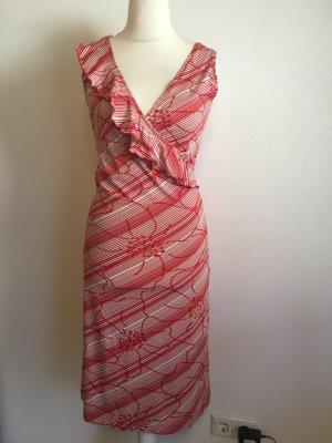 Kleid Sommerkleid rot weiß Rüschen sexy Abendkleid Gr. 36
