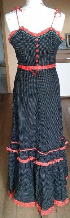 Kleid Spaghettiträger gepunktet mit roten Details Retro Vintage