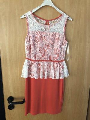 Bodyflirt Peplum Dress white-bright red