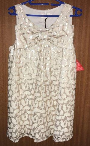 Kleid Spitze Pailletten Weiß Gold Schleife Bow S 36 Party Lashes Asos NEU!