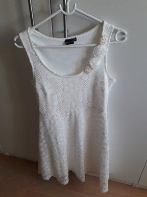 Kleid Spitzenkleid weiß Sommer Perlen
